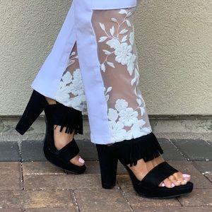 NIB Black Fringe Platform High Heel Sandals